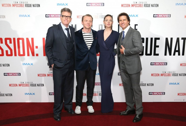 Christopher McQuarrie, Simon Pegg, Rebecca Ferguson, & Tom Cruise @ UK Fan Screening MISSION IMPOSISBLE – ROGUE NATION