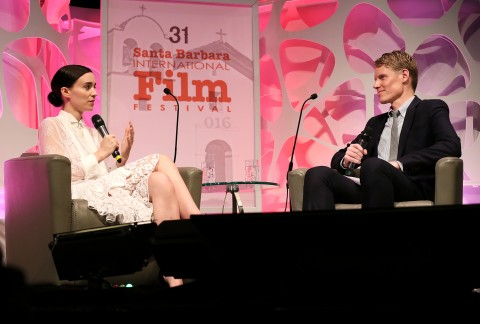 Actress Rooney Mara and Moderator Joe McGovern speak at the Cinema Vanguard Award at the Arlington Theater during the 31st Santa Barbara International Film Festival on February 12, 2016 in Santa Barbara, California. (Photo by Rebecca Sapp/Getty Images for Santa Barbara International Film Festival)