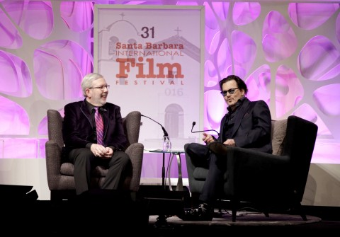 Film Critic Leonard Maltin and Actor Johnny Depp speak onstage at the Maltin Modern Master award tribute during the 31st Santa Barbara International Film Festival at the Arlington Theater on February 4, 2016 in Santa Barbara, CA. Photo by Rebecca Sapp/Getty Images for Santa Barbara International Film Festival