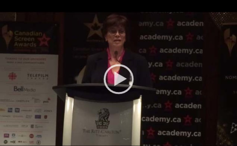 Academy CEO Helga Stephenson Discussing Academy Social Event During CDN Screen Week
