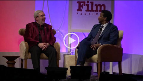 Leonard Maltin had a 90 minute talk w/ the 2017 SBIFF Maltin Modern Master Award presented by Dom Perignon Denzel Washington on Thurs, February 2nd in Santa Barbara, CA. At the evening end, Washington's co-stars from FENCES, Stephen McKinely Henderson & Saniyya Sidney presented him w/ the esteemed award.